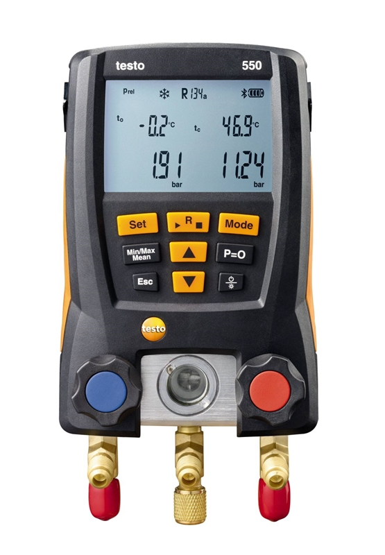 Testo's 550 digital gauge offers automatic heat pumping to improve refrigerant measurement accuracy.