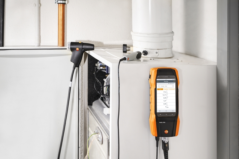 Testo's 300 flue gas analyser works best when digital connected with other smart devices.